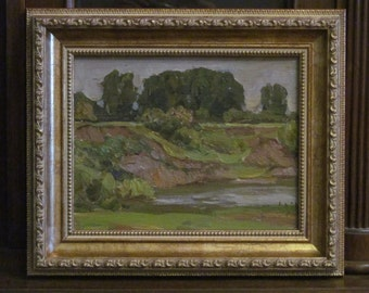 1985 On the river. Oil Painting. Siberia. Landscape. Original. Signed