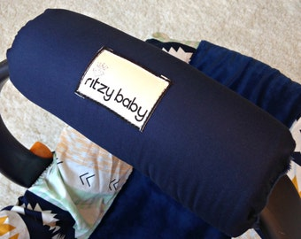 Navy Arm Pad for Infant Car Seat Handle, Optional Monogram