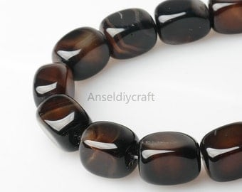 C283 Natural Black Agate Smooth Square Beads Supplies, Full Strand 13x18mm Black Agate Rectangle Gemstone Beads for DIY Jewelry Making