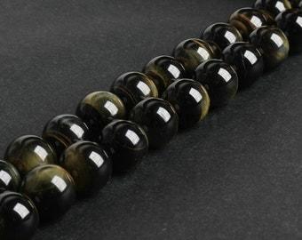 B248 Natural Yellow Blue Tiger Eye Beads, Genuine 6 8 10 12 14 16mm Loose Tiger Eye Gemstone Spacer Beads in Bulk Wholesale