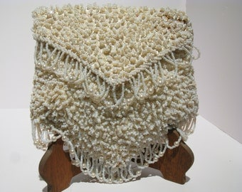 Vintage White Beaded Handbag