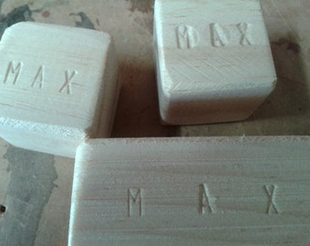 Personalised Untreated Wooden Block Set.