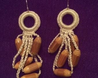 Hand Crocheted Ecru with Wooden Beads Earrings