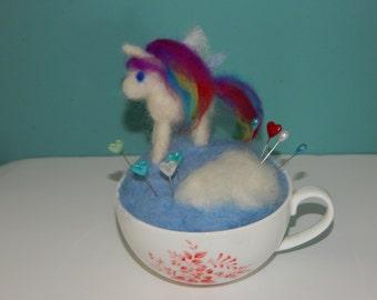 Unique Unicorn/Pegasis on a cloud Teacup Pin cushion