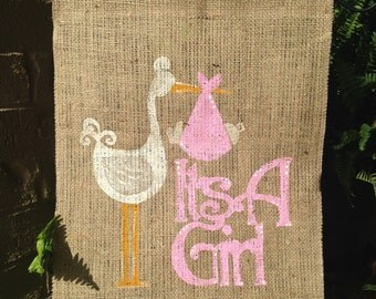 It's A Girl Burlap Garden Flag, It's A Girl, Flag, Outdoor Flag, Garden Flag, Personalized Flag, Baby Flag, Pink, Baby Gift, Gift, Girl Gift