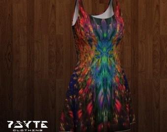 festival dress, Reversable dress, flare dress, fractal dress, Hippie dress, Music festival clothing, Skate dress, Psychedelic dress, Dance