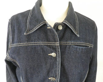 Vintage Laura Ashley Indigo Denim Jean Jacket   Size S