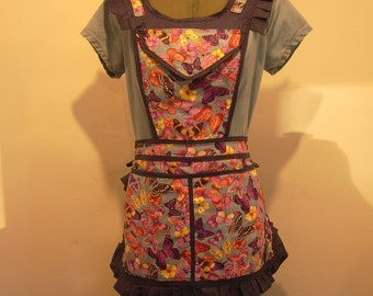Adjustable, Mulit-Pocket, Butterfly Apron, Vender/Gardening/Cooking/Crafting, Hand Crafted