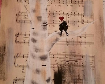 Sheet Music Painting | Love Birds | Anniversary Gift | Painted Vintage Sheet Music
