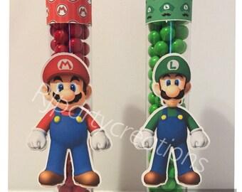 12  Super Mario and Luigi candy tubes