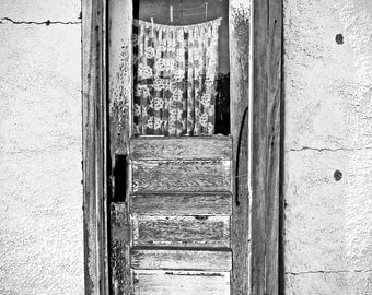 Vintage door, black and white photograph, fine art photo, home decoration, wall art, ructic, wood, wooden, curtains, window, lace
