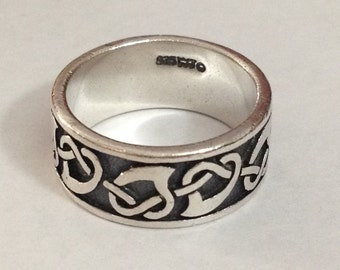Sterling silver heart band ring size 6.75