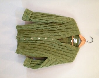 HUGE SALE---Vintage Olive Green Textured Woven Thick Plush Wool/Poly Blend Cardigan Button up Sweater - By Kraft Knitting Mills - Size M