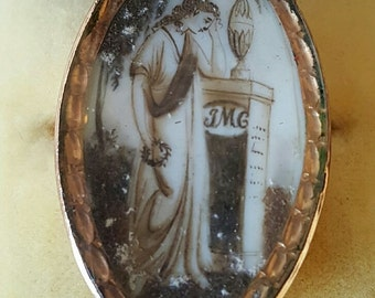 Antique Georgian Mourning Jewelry Memento Mori Pendant  Hand Painted Sepia