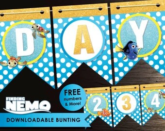 Finding Nemo banner, Birthday Bunting, Birthday Banner, Nemo Banner, Nemo Bunting, Glitter Banner, Party Banner, Downloadable, Nemo, Ocean