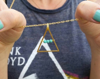 Mountain necklace, triangle necklace with turquoise beads, brass necklace, boho jewelry