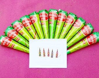 12 Organic, Fresh, Handmade 100% Natural Henna Cones + 1 bindi pack