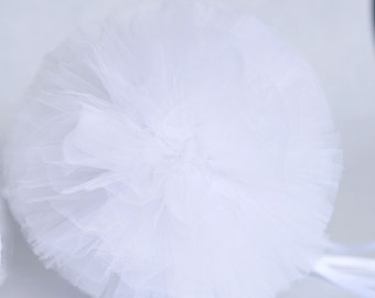 White tulle pompom / wedding party decorations pom poms