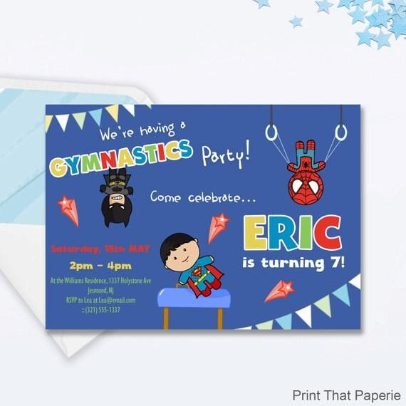 Boys gymnastics party invitation superhero gymnastics birthday il570xn stopboris Images