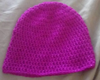 Pink crochet beanie