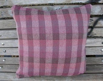 Pillow case hand-woven, Cushion cover, Burgundy marsala red red violet grey, 40 x 40 cm, checkered plain, rustic House, 80% cotton - 20 lines
