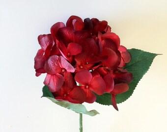 "Burgundy Hydrangea Silk Flower, Artificial, Faux, Silk Wedding Flowers, Silk Flowers - 29"" Tall"