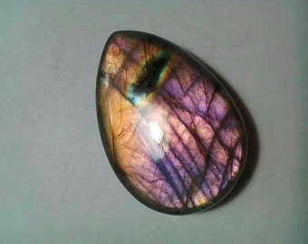 Labradorite Purple Flashy Pear Shape Cabochon
