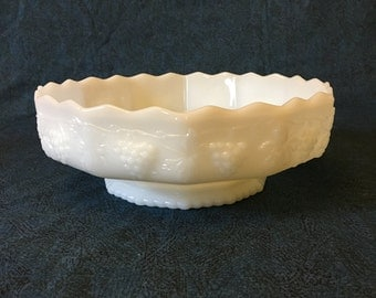 Vintage Anchor Hocking Fire King Milk Glass Grape Pattern Fruit Bowl, Wedding Bowl