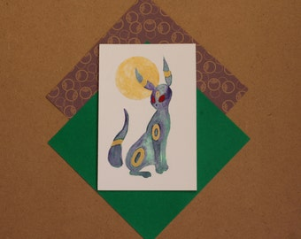 original watercolor Umbreon pokemon painting