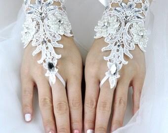 Wedding Gloves, Lace Gloves, Fingerless Gloves, bridal gloves,Bridesmaids Gloves, Bride gloves, Rhinestones Fingerless Gloves, LG16003