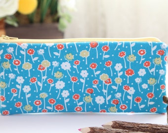 Flower Bursts Pencil Pouch, Pencil Case, FREE SHIPPING with another purchase, Pencil Bag, Zipper Pouch, Gadget Case, School Supplies