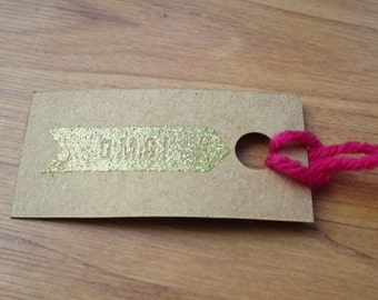 OMG! Sparkle embossed kraft paper gift tags with pink yarn