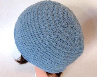 Needlebound hat light blue coloured pure wool, medieval clothing reenactors, viking dark ages clothing, needlebinding, historical hat indigo