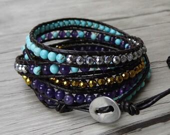 5 wraps bracelet leather bead bracelet boho leather wrap bracelet hematite turquoise amethyst bead wrap bracelet bohemian bracelet SL-0284