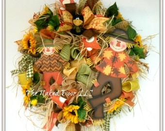 Fall Scarecrow Wreath - Scarecrow Wreath - Scarecrow Decor - Scarecrow Mesh Wreath - Thanksgiving Wreath - Fall Wreath - Fall Decor