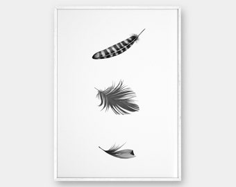 Feathers Wall Art, Printable Poster, Minimalist Art, Black and White, Scandinavian Poster, Affiche Scandinave, Boho Decor, Printable 8x10