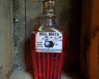 "Vintage Witches potion ""Hell Broth"" Halloween decor"