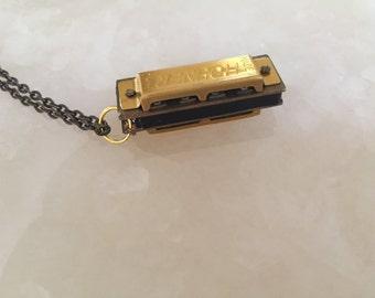 Miniature Harmonica Pendant Necklace