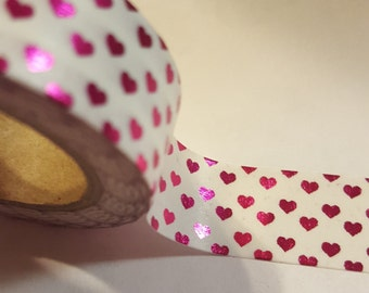 ONE Roll of Tiny HOT PINK Hearts washi tape