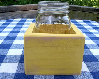 Centerpiece Box - Mason Jar Box, 1-jar size - Yellow - Organizer, Gift Box