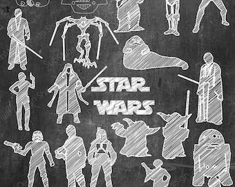 Star Wars/ printable star wars silhouette /Star wars chalkboard / chalkboard art / vector / PNG / High Quality / scribbles /  line art