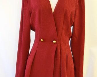 Vintage Burgundy Blazer Women's Blazer Burgundy Jacket Blazer By Definitions exclusive Size UK 10