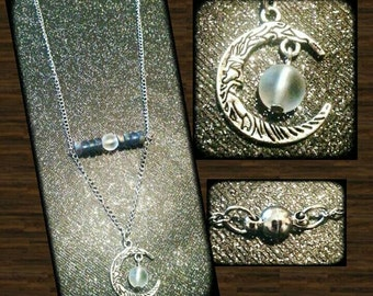 Tibetan silver moon charm necklace with magnetic clasp