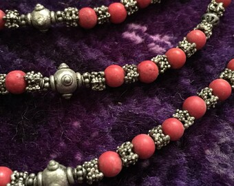 Vintage Yemeni Necklace - Coral & Silver Mix - Bedouin Yemen Jewelry