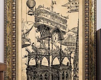 Albert Robida Art Print Steampunk Futuristic Airship Aircraft Central Station Antique Vintage 1883