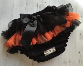 Baby Bloomer, Halloween Tutu Bloomers, Tutu Bloomer,  Halloween Ruffle Bum, Newborn - Toddler Baby Ruffle Diaper Cover, Ruffle Bum, Any Size