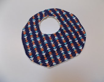 Modern Flannel and Chenille Baby Bib with Turquoise, Orange, and Cream Triangles