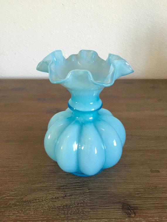 Fenton Melon Vase Light Blue Overlay Ruffled Edge Glass Vase Ruffled Glass Vase