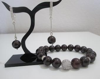 Garnet, Garnet set semi-precious stones, Garnet bracelet, Garnet Earrings, Sterling Silver 925, Micropave, cubic zirconium, gift woman