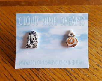 Star Wars The Force Awakens Inspired BB-8 + R2-D2 Mismatch Earrings